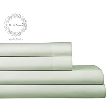 AURAA Elegance 800 Thread Count 100% American Supima Long Staple Cotton Sheet Set,4 Pc Set, California King Sheets Sateen Weave,Hotel Collection Soft Luxury Bedding,Fits Upto 16  Deep Pocket,Sea Foam