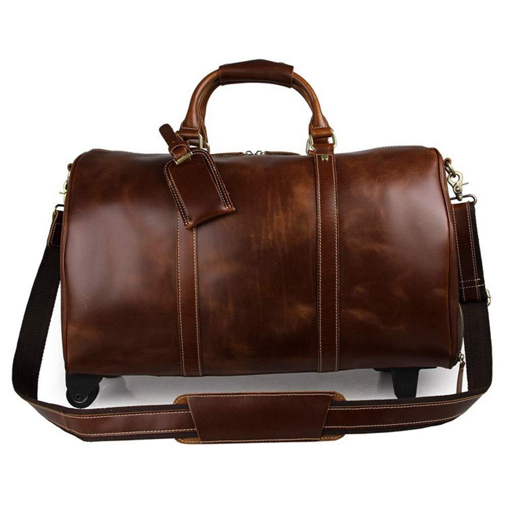 旅行バッグ スタイリッシュなシンプルレザーメンズトロリートラベルバッグブラウン大容量の長短距離バッグ スポーツバッグ トラベルバッグ (色 : コーヒー) B07P82F6XT コーヒー