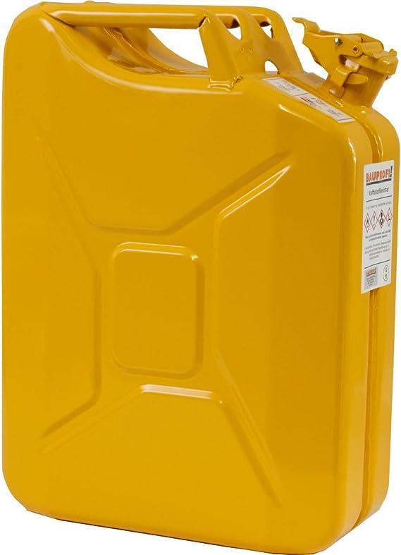 Bauprofi 20 Liter Stahlblechkanister Ggvs Mit Sicherungsstift Gelb Benzinkanister 20l Auto
