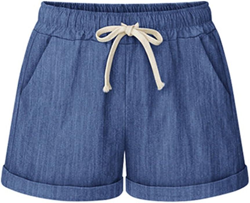 375bd4c8b61a82 Ybenlover Damen Kurze Hose Sommer Leinen High Waist Casual Shorts ...