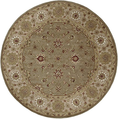 Surya Crowne CRN-6010 Classic Hand Tufted 100% Wool Desert Sand 8' Round Traditional Area Rug