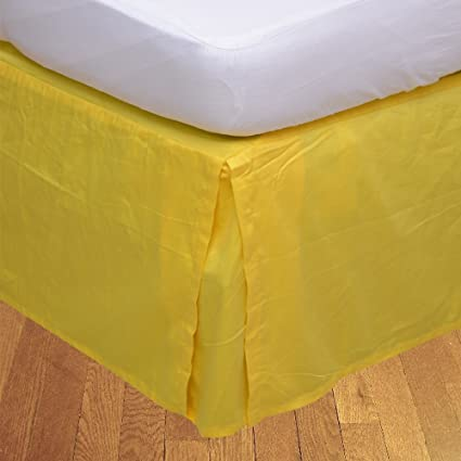 Amazon Com Budgetlinen 1 Box Pleated Bed Skirt Only Yellow Twin