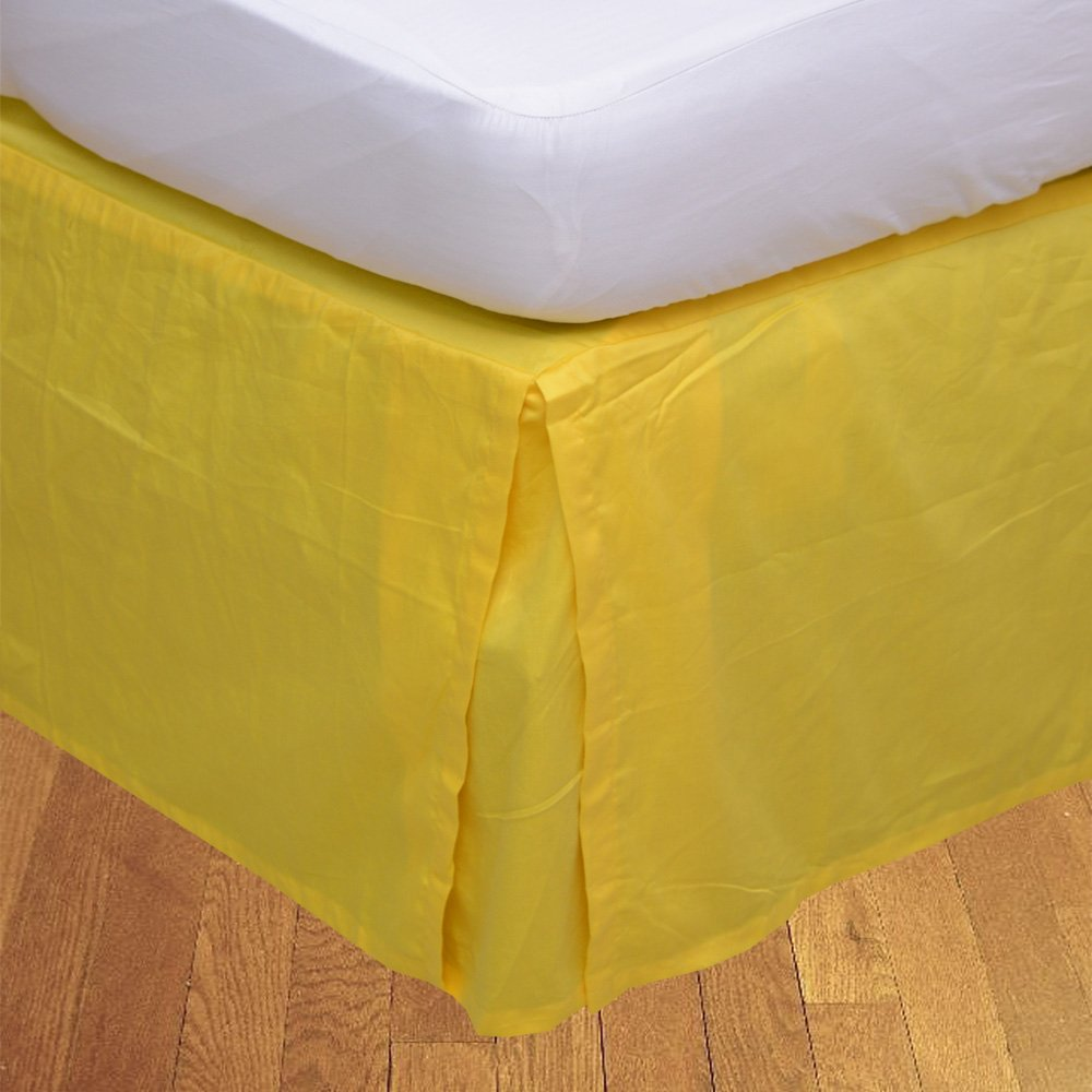 Relaxare Olympic Queen 300TC 100% Egyptian Cotton Yellow Solid 1PCs Box Pleated Bedskirt Solid (Drop Length: 29 inches) - Ultra Soft Breathable Premium Fabric