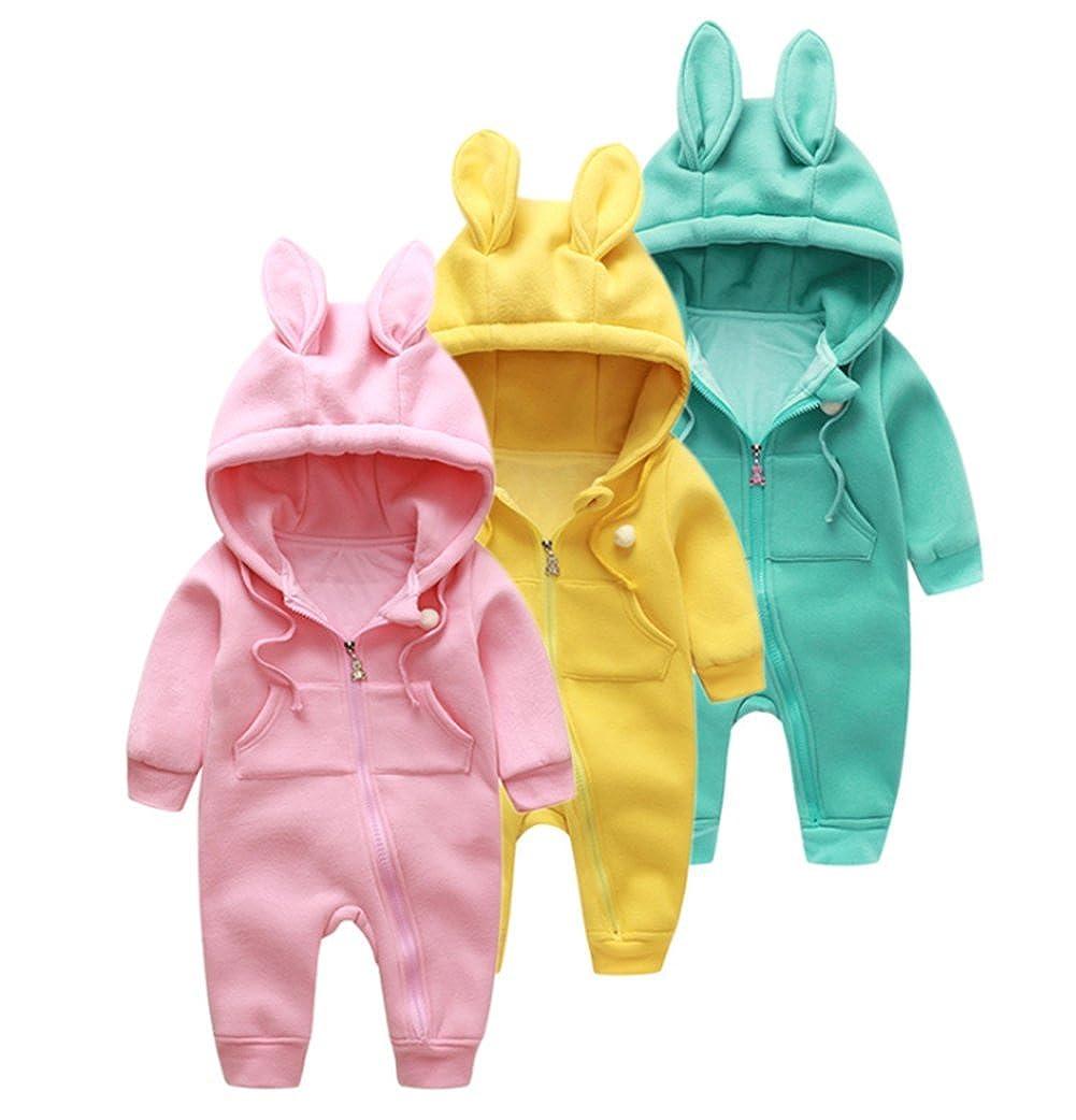 Newborn Baby Boys Girls 3D Cartoon Ribbit Ear Romper One-Piece Zipper Jumpsuit