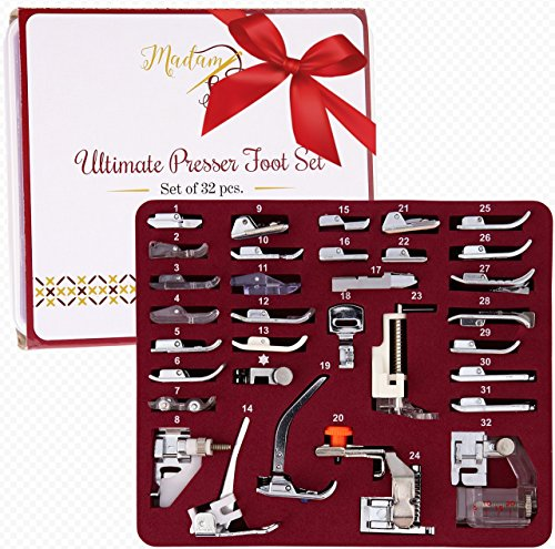 Best Price! MadamSew Presser Foot Set 32 PCS - The ONLY One with Manual, DVD and Deluxe Storage Case...