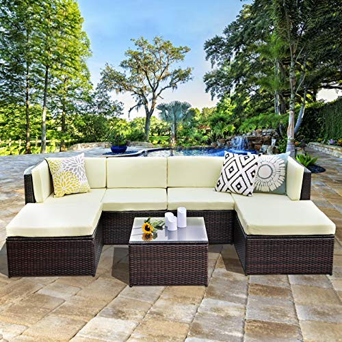 (Wisteria Lane Outdoor Patio Furniture Set,7 Piece Rattan Sectional Sofa Couch All Weather Wicker Conversation Set with Ottoma Glass Table Brown Wicker, Light Yellow Cushions)