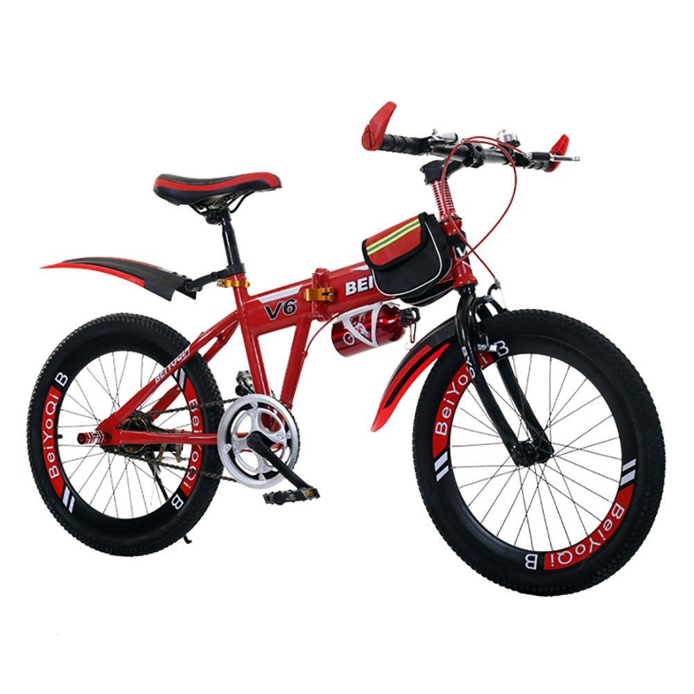 子供用折りたたみ自転車, 学生折りたたみ自転車 子供の折りたたみ自転車 超軽量 マウンテン バイク 少年少女 折りたたみ自転車 B07DK651J4 22inch|赤 赤 22inch