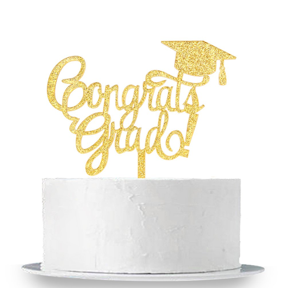INNORU Congrats Grad Cake Topper - Class of 2018 Graduate Party Decorations Supplies - High School Graduation, College Graduate Cake Topper (Glitter Gold) by INNORU (Image #1)