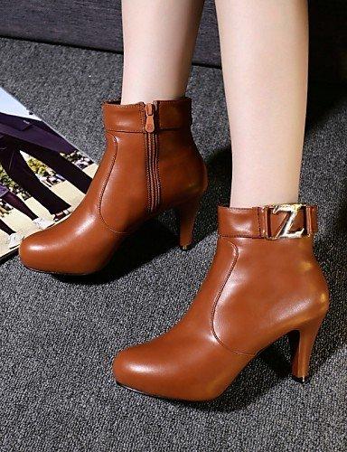 Botas Rojo Brown Redonda Tacón Cn40 Vestido Moda Punta Uk6 Zapatos Eu36 Red Negro Mujer De La Cono Trabajo Y Uk4 Cn36 Xzz Eu39 us8 5 Semicuero us6 A Oficina 5 Marrón Hq0Ux
