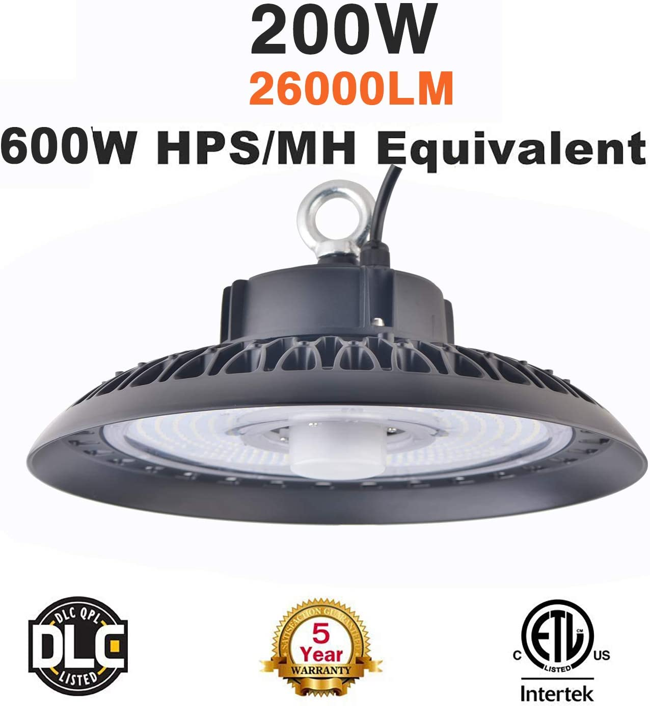 100W 150W 200W UFO High Bay LED Light Dimmable Fixture IP65 5000K Motion Sensor