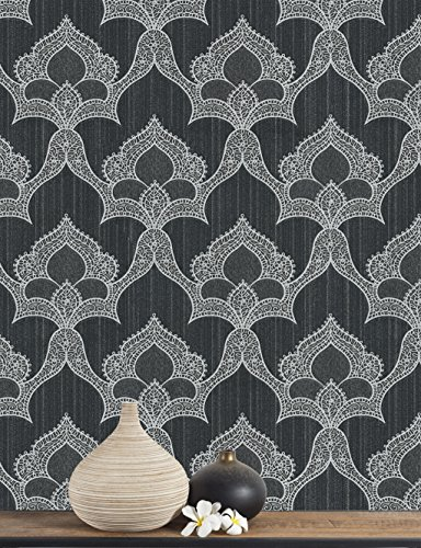 Belgravia Marrakech Black / Silver Eastern Damask Textured Heavyweight Wallpaper GB2204