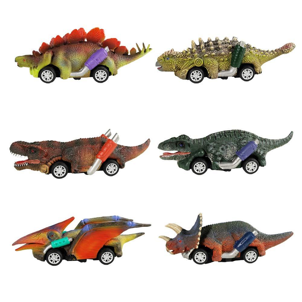 Dinosaur Toy Pull zurück Cars, 6 Pack Dino Toys für 3 Jahr alt Boys und Toddlers, Junge Toys Alter 3,4,5 und Up, Pull zurück Toy Cars, Dinosaur Games mit T-Rex durch Greenkidz