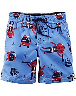 Carter's Baby Boy's Pirates Swim Trunks 18m Blue …