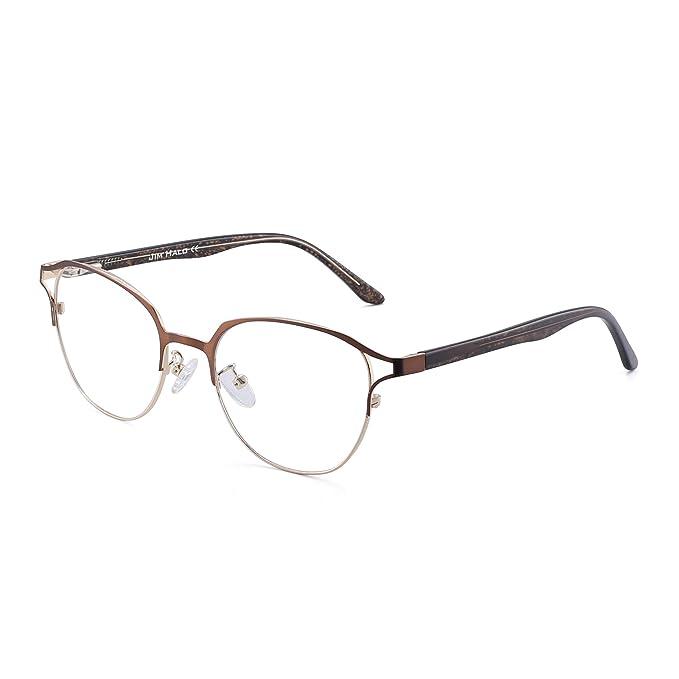 d772a2af1e0c JIM HALO Designer Non-Prescription Glasses Spring Hinge Metal Eyeglasses  Women Brown