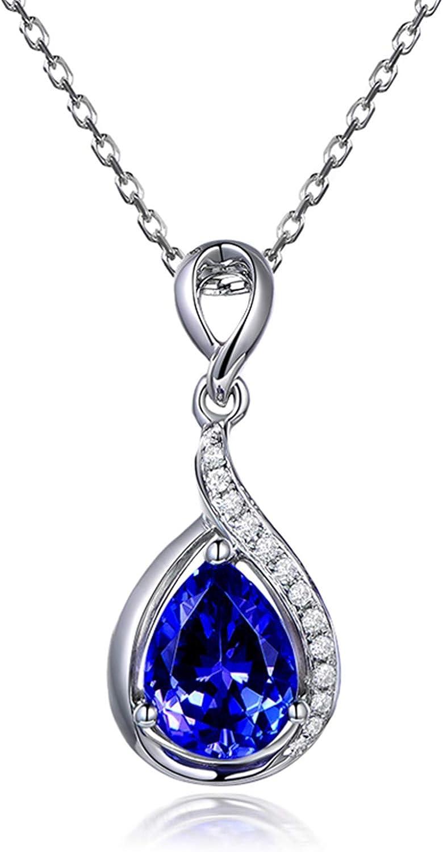 KnSam - Collar de oro blanco 750 para mujer, cadena de 18 quilates, gotas de agua, lágrimas con 1,37 quilates y diamantes de 0,05 quilates, color plateado y azul