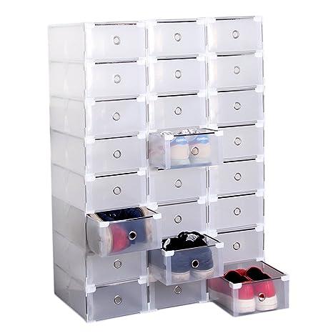 ICOCO Caja de almacenamiento para zapatos, 24 cajones transparentes, plegable, para el hogar
