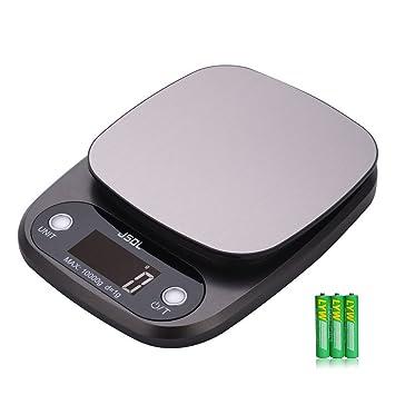 JSDL Báscula Digital para Cocina 10kg/1g, Acero Inoxidable Balanza de Alimentos Multifuncional, Peso de Cocina con Función de Tara, Pantalla LCD Grande ...