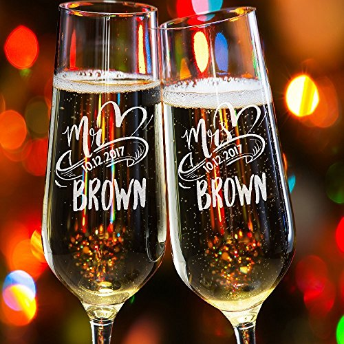 Lily's Atelier Set of 2, Hand Engraved Mr. Mrs. Last Name & Date Custom Wedding Toast Champagne Flute Set, Wedding Toasting Glasses - Etched Flutes for Bride & Groom Customized - Glassware Customized