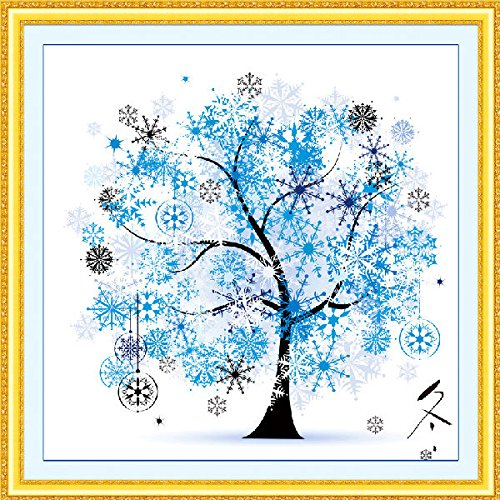 broidery Set Kit 3D Print Seasons Fortune Tree Home Bedroom Decor(winter) ()