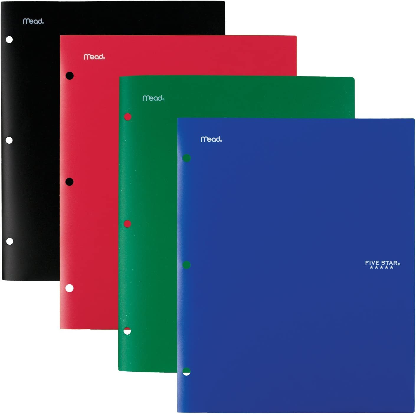 Five Star 4 Pocket Folders, Plastic, Folders with Pockets, Black, Blue, Red, Green, 4 Pack (38083)