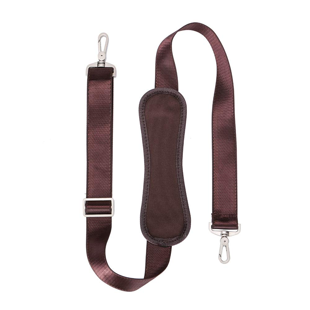 59 INCH Universal Replacement Shoulder Strap Adjustable Webbing with Metal Swivel Hooks for Laptop Case Briefcase Pet Carrier Resher Brown