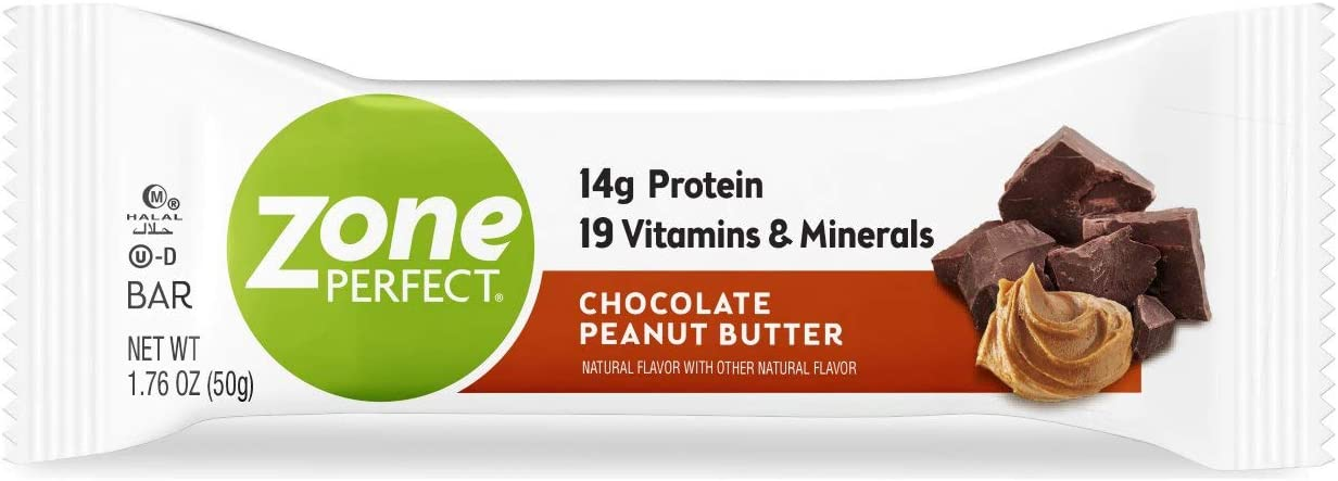 Zone Perfect Protein Bars, Chocolate Peanut Butter, 14g of Protein, Nutrition Bars with Vitamins Minerals, Great Taste Guaranteed, 20 Bars