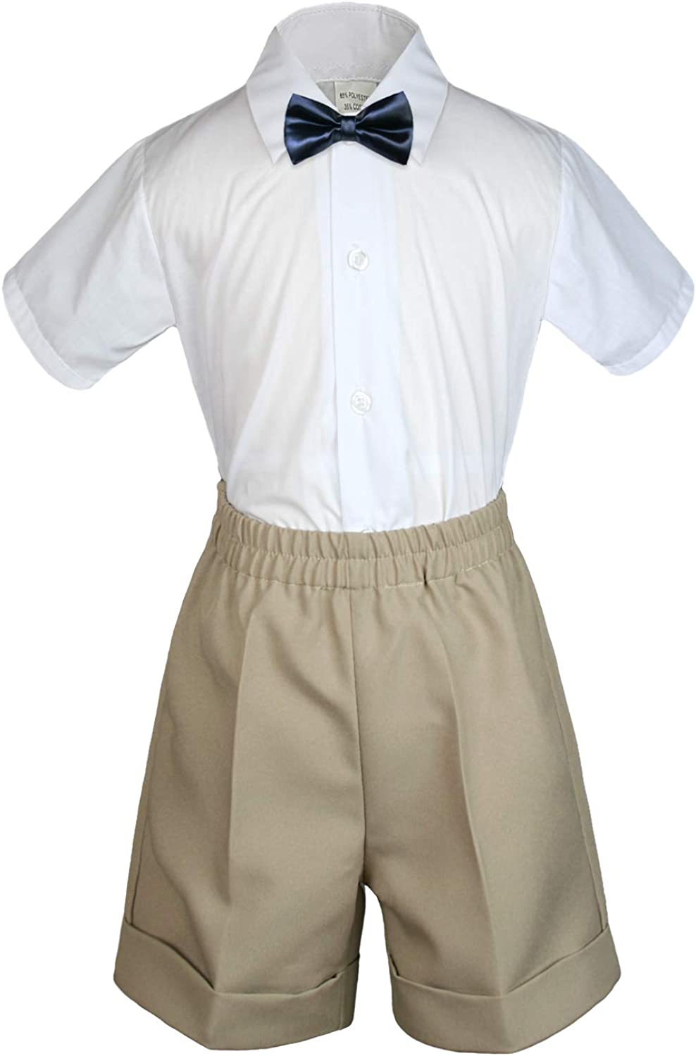 MILLTEX 3 Pieces Set Formal Party Wedding Color Satin Bow tie Shirt Khaki Shorts Set New Born Baby Boy Toddler Sm-4T