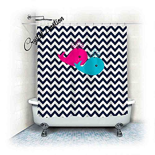 Crystal Emotion Navy Blue Chevron with Hot Pink and Turquoise Whales shower curtain