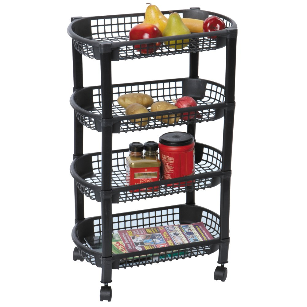 MBR INDUSTRIES ST-31510 4-Tier Rolling Kitchen Cart - Black