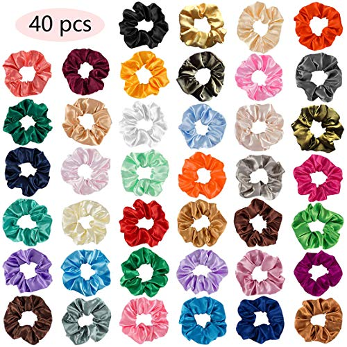 Halloween Is Not Satan's Birthday (WillingTee 40 Pack Satin Hair Scrunchies Elastic Solid Color Hair Ponytail Holder Hair Scrunchy Vintage Hair Ties Accessories for Women and)