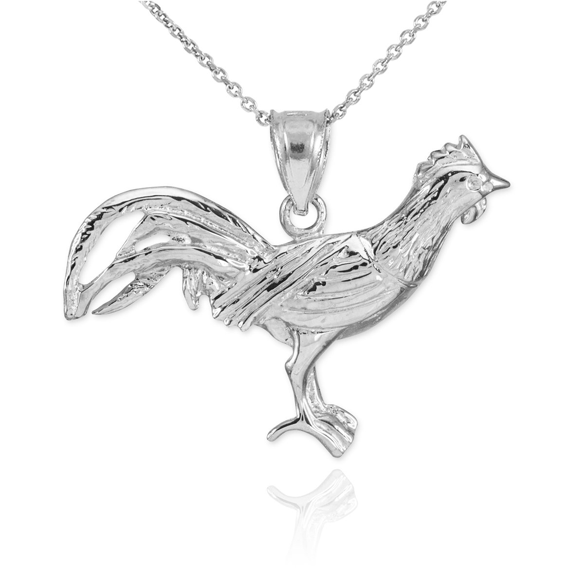 Fine 925 Sterling Silver Lucky Rooster Pendant Necklace, 18''