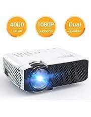 [Aggiornato] Proiettore APEMAN 4000 Lumen Mini Videoproiettore Portatile Doppio Altoparlante del LED fino 50000 Ore Cinema Domestico Compatibile 1080P HDMI/USB/VGA/Micro SD Supporto Android IOS TV Box