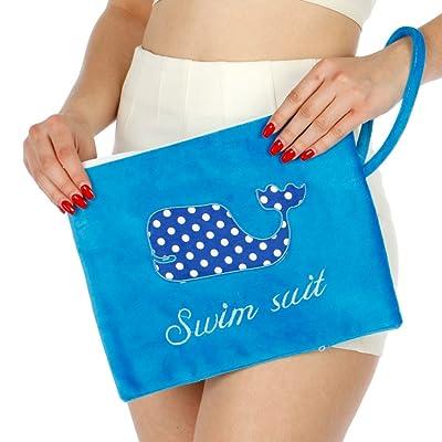 Terrycloth Whale Patch Beach Bag, Bathing Suit Bag, Waterproof Beach Bag