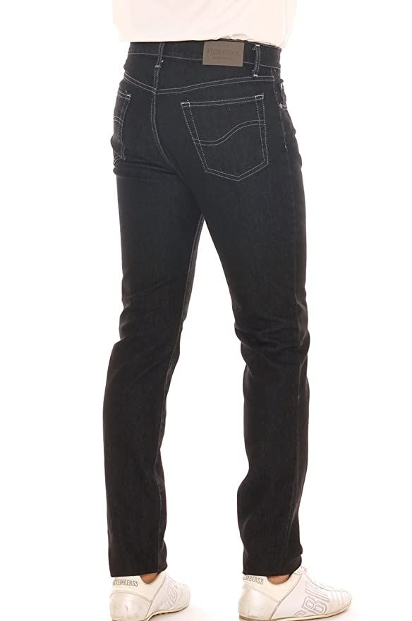 073acb12a9 Holiday Jeans Uomo Vita Alta in Denim Cotone Super Stretch Scuro ...