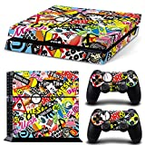 Ps4 Playstation 4 Console Skin Decal Sticker Graffiti + 2 Controller Skins Set
