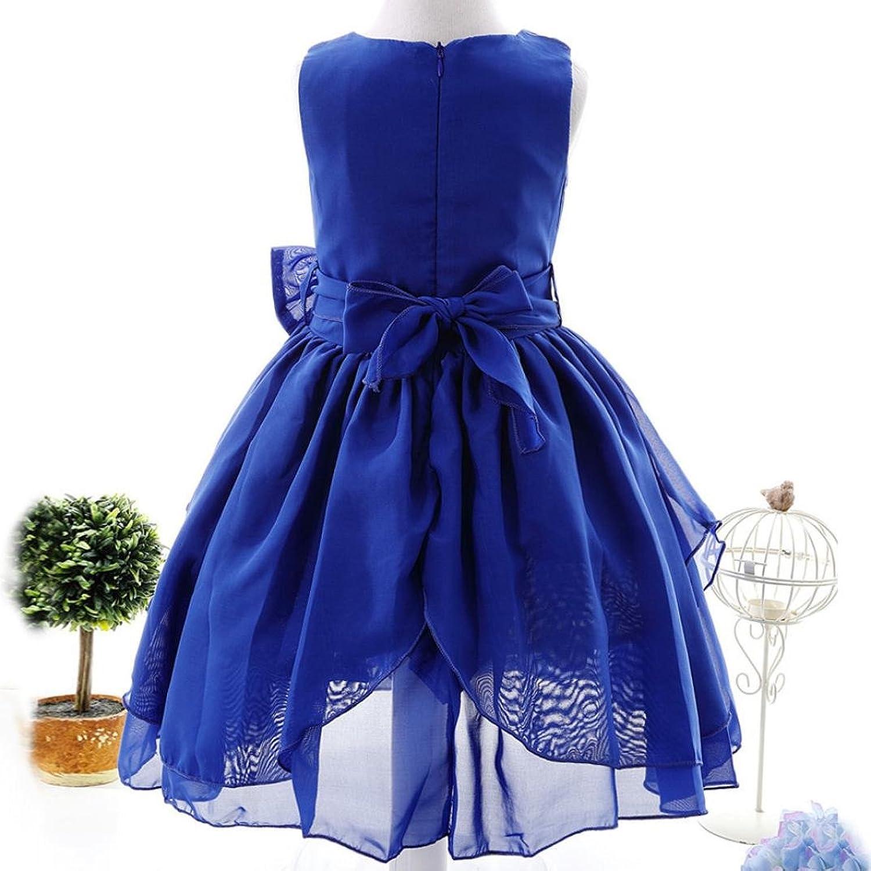 Robe de Princesse Fille JIANGfu Robe de demoiselle d honneur bowknot  enfants fille robe princesse formelle robe de demoiselle d honneur (160 2f2e4a643ff