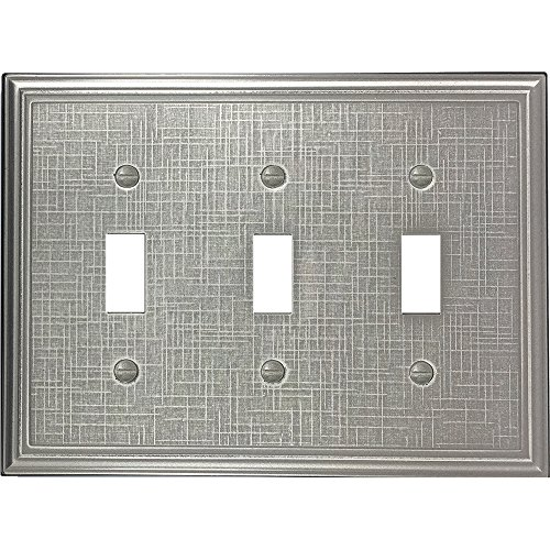 Questech Linen Textured Decorative Switch Plate/Wall Plate/Outlet Cover (Triple Toggle, Brushed Nickel Eggshell)