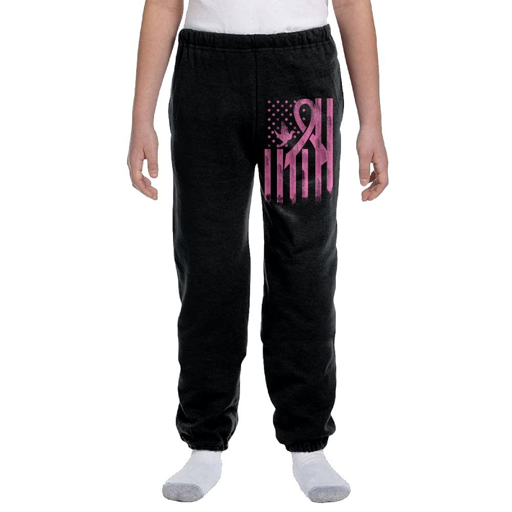 Breast Cancer Awareness USA Flag Fashion Durable Unisex Sweatpants For Kids