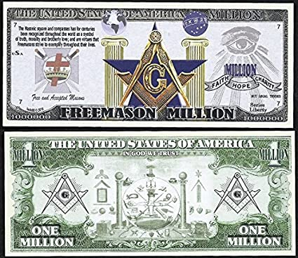 Freemason Symbols Million Dollar Bill Masonic Square Comp Lot Of 100 Bills