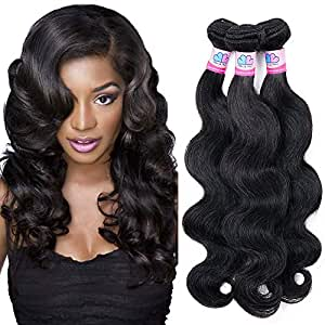 "Mike & Mary Top 7A Brazilian Wavy Hair 3 Bundles 24"" 24"" 24"" 300g Natural Color Unprocessed Virgin Brazilian Human Hair Weave"
