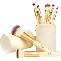 Matto Makeup Brushes Professional 10-Piece Golden Makeup Brush Set with Brush Holder