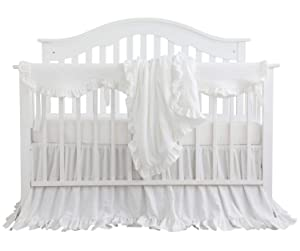 Blush Coral Pink Ruffle Crib Bedding Set Baby Girl Bedding Blanket Nursery Crib Skirt Set Baby Girl Crib Bedding Sheet (White, 4 Pieces Set with Rail Cover)