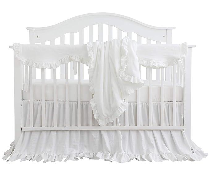 88ee284cf7b88 Amazon.com: Blush Coral Pink Ruffle Crib Bedding Set Baby Girl ...