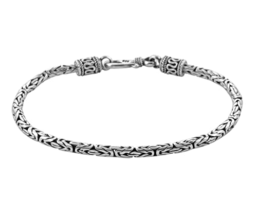 abf23ddb750e Pulsera de cadena de plata de ley 925 para hombre con diseño de Bali ...