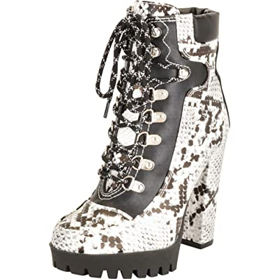 Cambridge Select Women's Retro 90s Colorblock Hiking Lace-Up Lug Sole Chunky Platform Extra High Block Heel Ankle Bootie | Ankle & Bootie