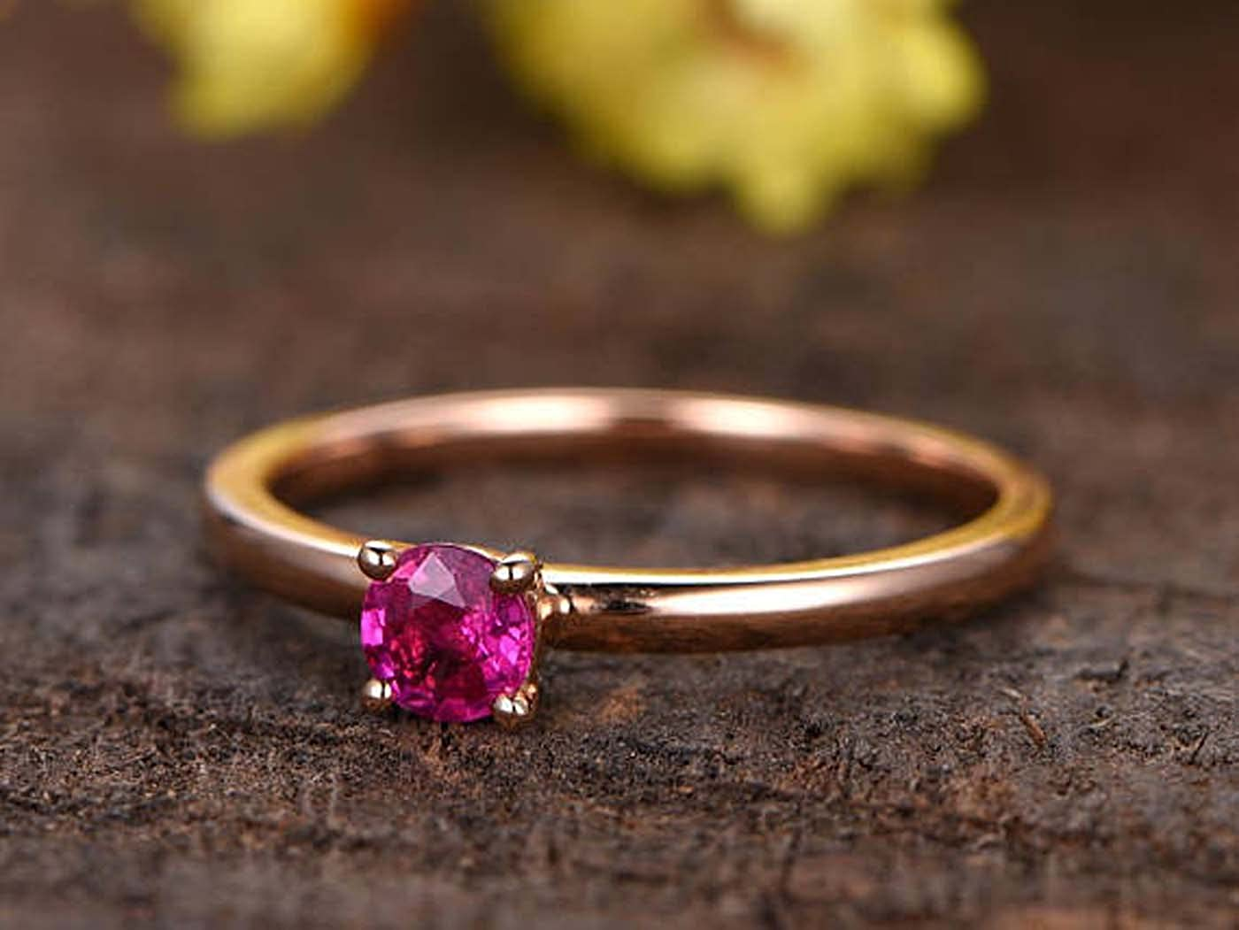Dabangjewels 4mm Round Cut Pink Ruby 14k Rose Gold Over .925 Sterling Silver Solitaire Engagement Ring For Womens