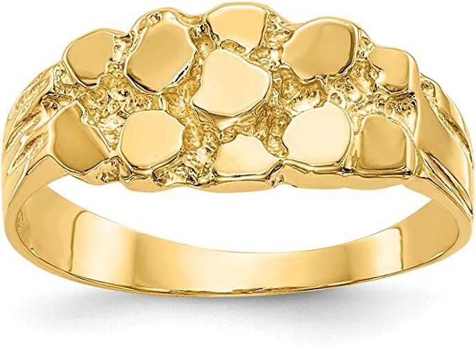 Amazon Com Mia Diamonds 14k Solid Yellow Gold Nugget Ring Jewelry