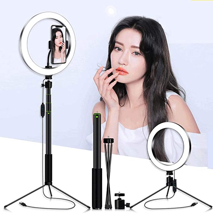 XYSQWZ LED Ring Light 10-inch Tripod with Dimmable Light Tube with 3 Color Modes and 10 Brightness Mobile Phone Holder for YouTube Video Shooting Camera YouTube Video
