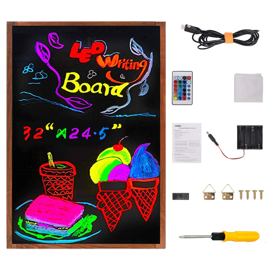 LUVODI LED Message Writing Board, 30'' x 22'' Flashing Illuminated Erasable Neon Menu Sign Kids Drawing Painting DIY Chalkboard 15 Colors 4 Flashing Mode Remote Control for Restaurant Wedding