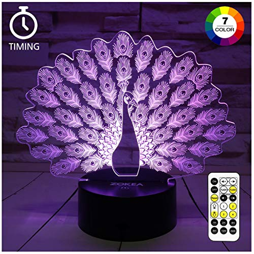 ZOKEA Night Light 3D lamp 7 Colors Changing Nightlight with Smart Touch & Remote Control 3D Night Light for Kids or as Gifts for Women Kids Girls Boys (Peacock)